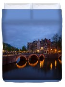 Canals Of Amsterdam At Night Duvet Cover
