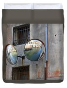 Canals Reflected In Mirrors In Venice Italy Duvet Cover
