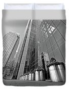 Canary Wharf Financial District In Black And White Duvet Cover