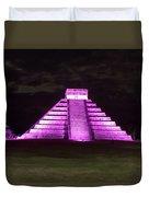 Cancun Mexico - Chichen Itza - Temple Of Kukulcan-el Castillo Pyramid Night Lights 2 Duvet Cover