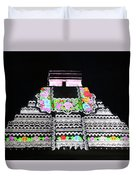 Cancun Mexico - Chichen Itza - Temple Of Kukulcan-el Castillo Pyramid Night Lights 8 Duvet Cover