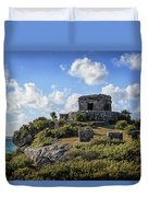 Cancun Mexico - Tulum Ruins - Temple For God Of The Wind 2 Duvet Cover