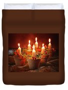 Candles In Terracotta Pots Duvet Cover by Amanda Elwell