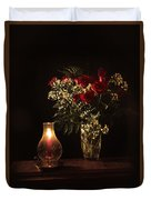 Candlestick And Roses Duvet Cover