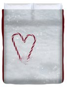 Candy Canes In Snow Duvet Cover