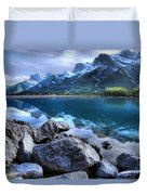 Canmore Reservoir Under A Setting Sun Duvet Cover