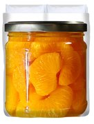 Canned Mandarin Oranges In Glass Jar Duvet Cover