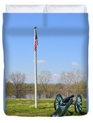 Cannon And Flagpole Overlooking River Duvet Cover