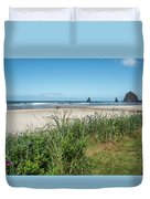 Cannon Beach And Purple Bloom Duvet Cover