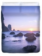 Cannon Beach Rocks Sunset Duvet Cover