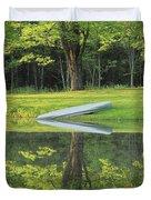 Canoe At Ponds Edge Duvet Cover