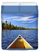 Canoe Bow On Lake Duvet Cover
