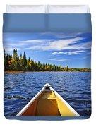 Canoe Bow On Lake Duvet Cover by Elena Elisseeva