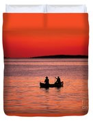 Canoe Fishing Duvet Cover