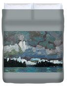 Canoe Lake Rain Duvet Cover