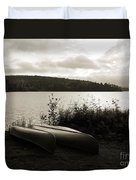 Canoe On A Shore Of A Lake At Dawn Duvet Cover