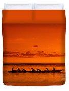 Canoe Paddlers Duvet Cover