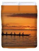 Canoe Paddlers Silhouette Duvet Cover