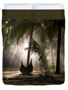 Canoe Under Palm Trees In Kerala, India Duvet Cover