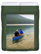 Canoeing Glacier Park Duvet Cover