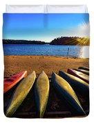 Canoes At Sunset Duvet Cover