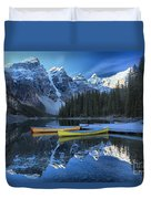Canoes Under The Peaks Duvet Cover