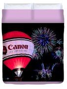 Canon - See Impossible - Hot Air Balloon With Fireworks Duvet Cover
