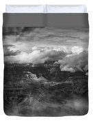 Canyon In Clouds Bw Duvet Cover