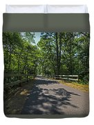 Cape Cod Rail Trail Trees Eastham Ma Fence Duvet Cover