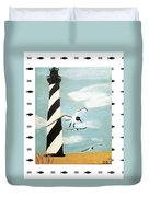 Cape Hatteras Lighthouse - Fish Border Duvet Cover