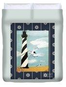 Cape Hatteras Lighthouse - Ship Wheel Border Duvet Cover