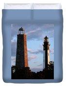 Cape Henry Lighthouses In Virginia Duvet Cover by Skip Willits