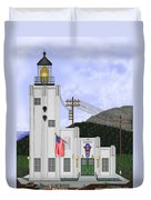 Cape Hinchinbrook Lighthouse In Alaska Duvet Cover by Anne Norskog