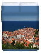 Cape Madonna At Point Of Piran Slovenia On Blue Adriatic Sea Wit Duvet Cover