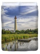 Cape May Lighthouse From The Pond Duvet Cover