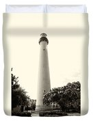 Cape May Lighthouse In Sepia Duvet Cover
