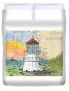 Cape Mendocino Lighthouse Ca Nautical Chart Map Duvet Cover