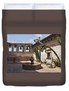 Capistrano Mission Courtyard Duvet Cover