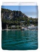 Capri Island Silky Smooth Emerald And Aquamarine Duvet Cover