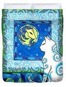 Capricorn Cat Zodiac Duvet Cover
