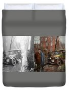 Car Accident - Watch For Ice 1921 - Side By Side Duvet Cover