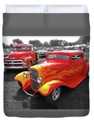 Car Show Fever - 54 Chevy With A 32 Ford Coupe Hot Rod Duvet Cover