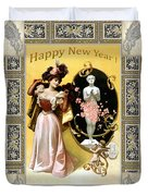 Card New Year Wishes Duvet Cover