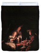 Card Players At Candlelight Duvet Cover