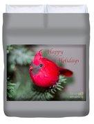 Cardinal Happy Holidays Duvet Cover