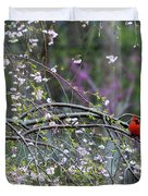 Cardinal In Flowering Tree Duvet Cover