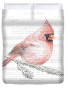 Cardinal On Joy To The World Duvet Cover