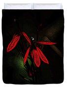 Cardinal  Plant Woodcut Duvet Cover