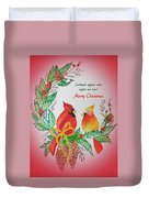 Cardinals Painted By Pat Napper  Duvet Cover
