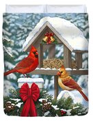 Cardinals Christmas Feast Duvet Cover by Crista Forest